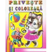 Priveste si coloreaza - Pisicuta