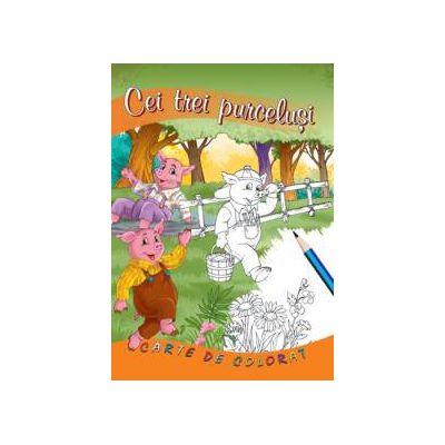 Cei trei purcelusi - carte de colorat