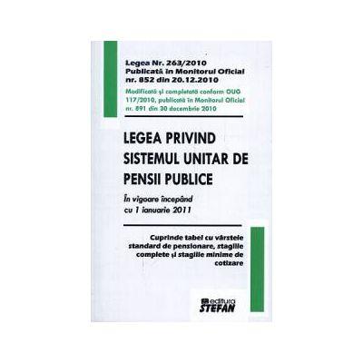 Legea privind sistemul unitar de pensii publice. In vigoare incepand cu 1 ianuarie 2011