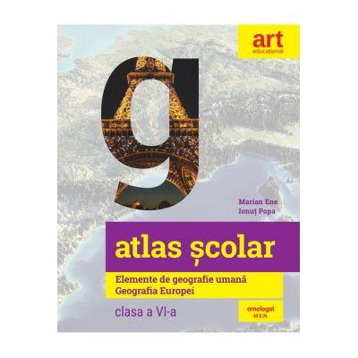 Atlas școlar. Elemente de geografie umană. Geografia Europei - Ionuț Popa, Marian Ene